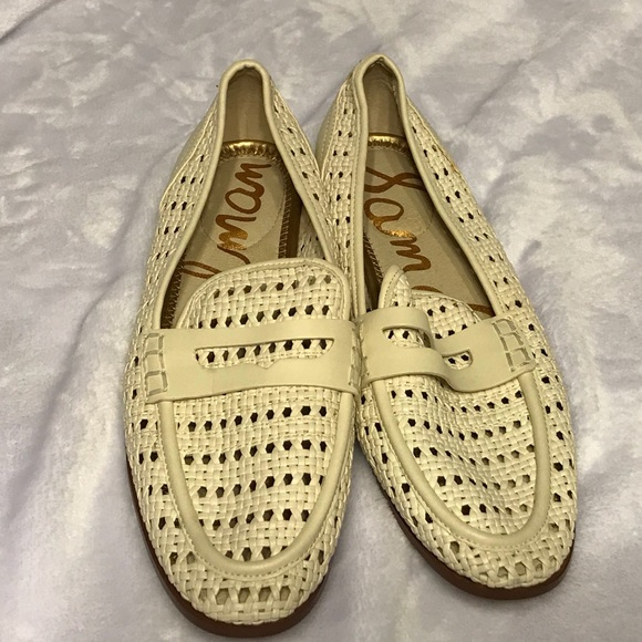2dfbf827b57435 Sam Edelman White Leora Woven Faux Leather Loafers.  M 5ac6d13e00450fa09c8d696a